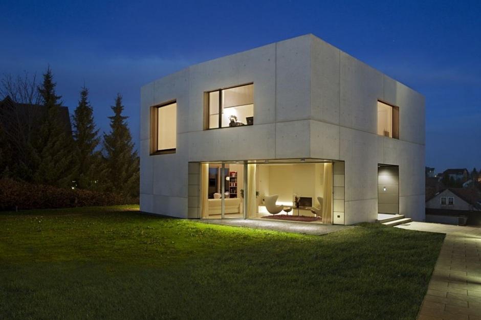 plan maison contemporaine beton