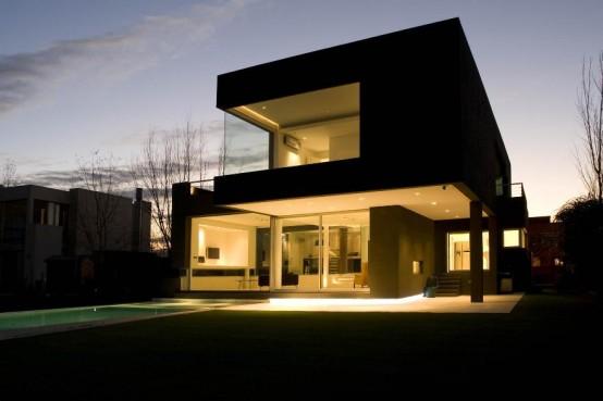 maison cubique noir